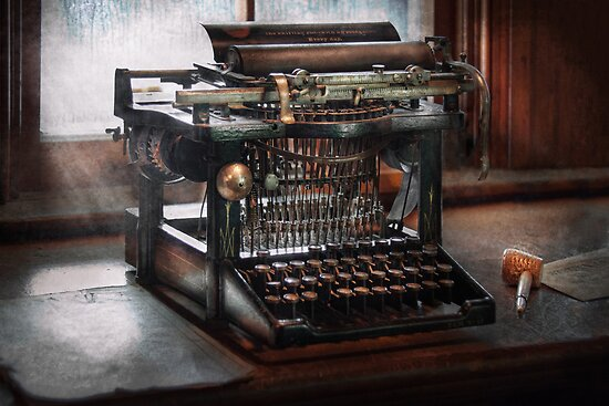 Steampunk - Typewriter - A really old typewriter  by Mike  Savad