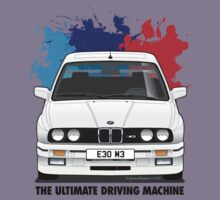 BMW E30 M3 (M Splash) - Alpine White - Black Text by Sharknose