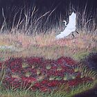"""Heron Over Autumn Marsh"" by Cindy Longhini"