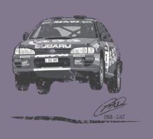 Machina Attire - 'Colin McRae 555' Subaru Impreza Tribute T-Shirt (Black & White) by Twain Forsythe