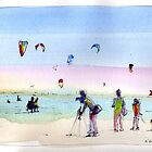 Watching the kite surfers - Altona Beach by Karin Zeller