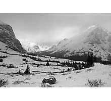 Elbow Pass valley V (b&w) Photographic Print