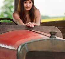 Young woman with old car. by fotorobs