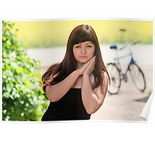 Beauty woman with bicycle Poster