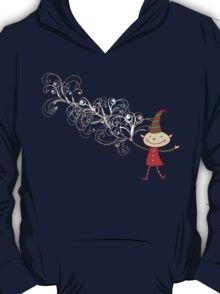 Swirly Magical Christmas Elf T-shirt (on dark) T-Shirt
