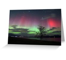 Red Auroras & the tree -II Greeting Card