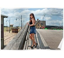 Beauty girl on the old-time bridge. Poster