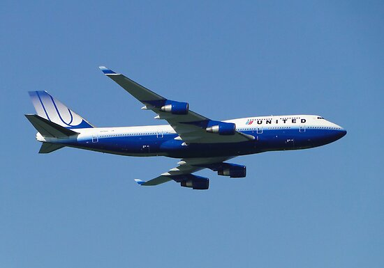 United Boeing 747 by Barrie Woodward