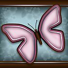 Elegant Pink Butterfly with Slate Blue & Brown by Starzraven