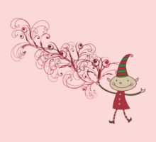 Swirly Magical Christmas Elf T-shirt (on light) Kids Clothes