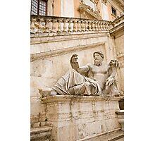 Statue outside Palazzo Senatorio Photographic Print