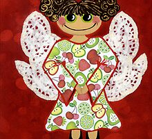 Fruit Salad Angel - she's quirky and cute as a button! by Lisa Frances Judd~QuirkyHappyArt