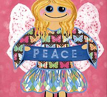 Butterfly Peace Angel - she has a message for all of us. by Lisa Frances Judd~QuirkyHappyArt