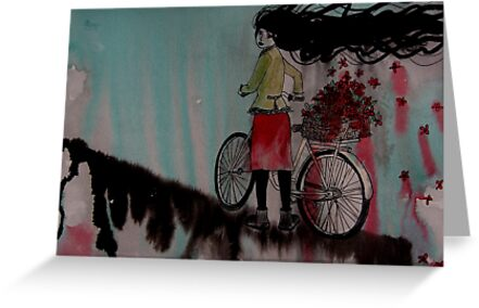 Bicycle and flowers. by Lisa Murphy