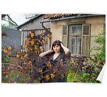Beauty girl in garden. Poster