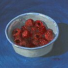 bowl of fast-disappearing raspberries by bernzweig