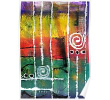 White Lines and Spirals Poster