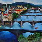 The View over Prague's Five Bridges by Jennifer Lyn King