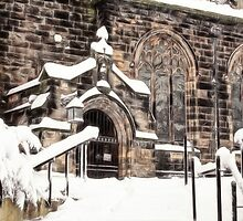 Ormskirk Parish Church During a Snowy Winter by Liam Liberty