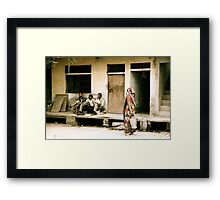 Three Men and a Sari Framed Print