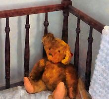 Teddy Bear in Crib by Susan Savad