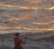 Sunshine like gold in the Pacific Ocean by Bernhard Matejka