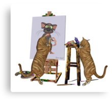 Artists at Work .. cheeky cats Canvas Print
