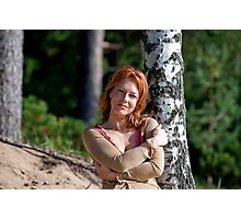 Woman at the birch Photographic Print