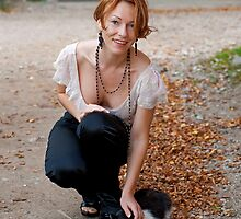 Beautiful woman with cat by fotorobs