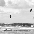 Kite Surfers - Dee Why Beach - B&W by petejsmith