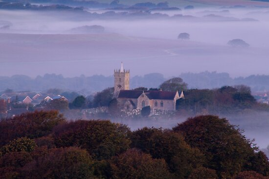 Church in the fog at sunrise by TerryPatrick