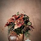 Christmas - Holiday Brown Poinsettas and Candle by Sherry Hallemeier
