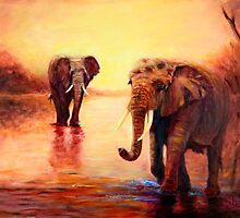 African Elephants at Sunset by Sher Nasser