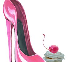 Pink Stiletto Shoe and Cupcake by ckeenart