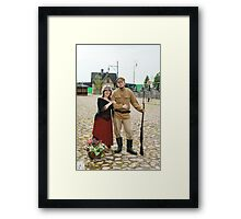 Couple of lady and soldier in retro style picture Framed Print