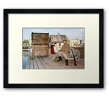 Lady and soldier with  gun in retro style picture Framed Print