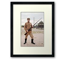 Soldier with  gun in retro style picture Framed Print