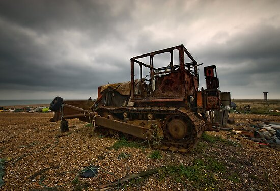 Bulldozer at Dungeness by Nigel Bangert