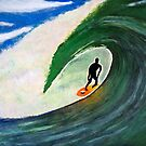 The Tube Ride - Acrylic Surfing Seascape Painting by Rick Short
