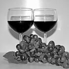 Wine and Grapes for Two in Black and White by Sherry Hallemeier