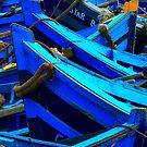 Blue Boats II - Essaouira, Morocco. by Damienne Bingham