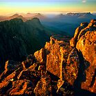 Summer sunset from Mount Olympus. Cover image: The Anne Range by Kevin McGennan