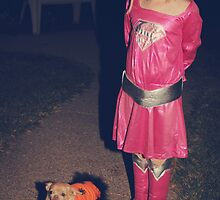 Two Little Girls in Costumes by Laurie Search