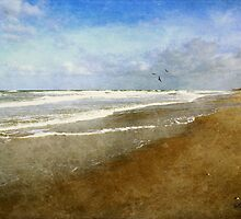 Lone Walker ~ Rough and Foamy Ocean  by SummerJade