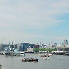 London Panorama with Thames river, from Tower Bridge by wildrain