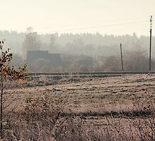 Village in morning mist at autumn time by Antanas