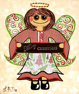 Christmas Angel - spreading seasons greetings. by Lisa Frances Judd ~ QuirkyHappyArt