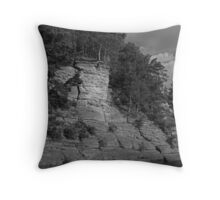 Sandstone Formation in Black and White Throw Pillow