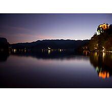Bled lake at dusk Photographic Print