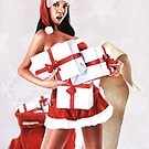 Santa's Little Helper? December / Christmas Pin-Up Girl Painting by Brent Schreiber